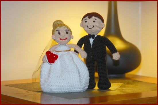 S//2 Happy Couple! Adorable NWT Handmade Felted Wool Bride /& Groom Ornaments
