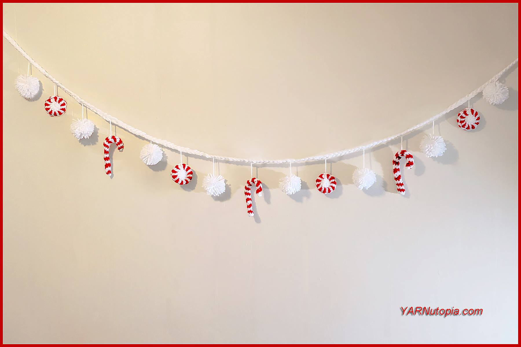 12 Days Of Christmas Peppermint Candy Garland Yarnutopia By Nadia