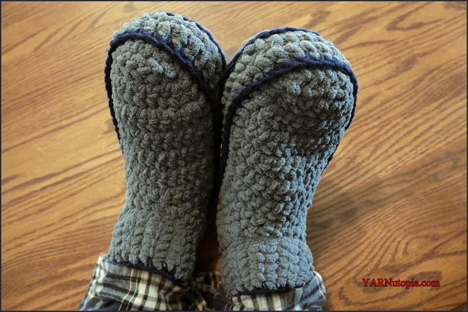 Free Crochet Tutorial Adult Mens Chunky Slippers Yarnutopia By