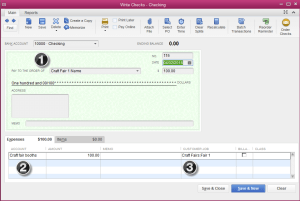 how to record a check for a craft fair in QuickBooks