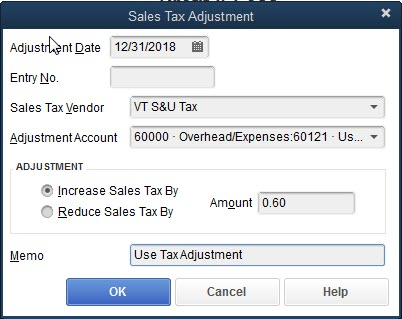Adjusting Sales Tax to include Use Tax