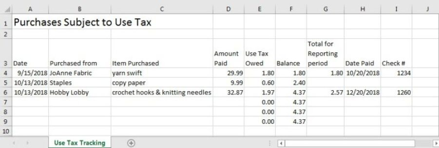 Create a spreadsheet to track use tax