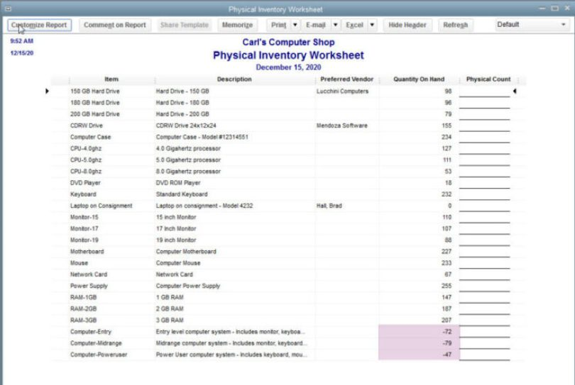 Bookkeeping software makes finding inventory problems