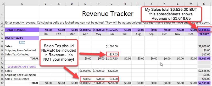 Revenue Tracking spreadsheet