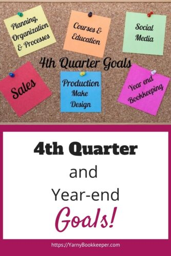 Bulleting board with Post-It Notes showing goals for the 4th quarter and Year-end.