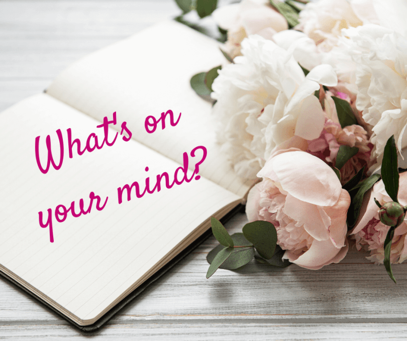 A notebook asking what's on your mind