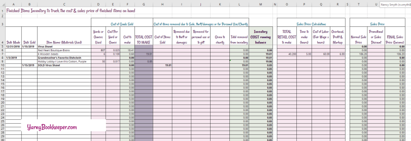 A free spreadsheet to track finished items