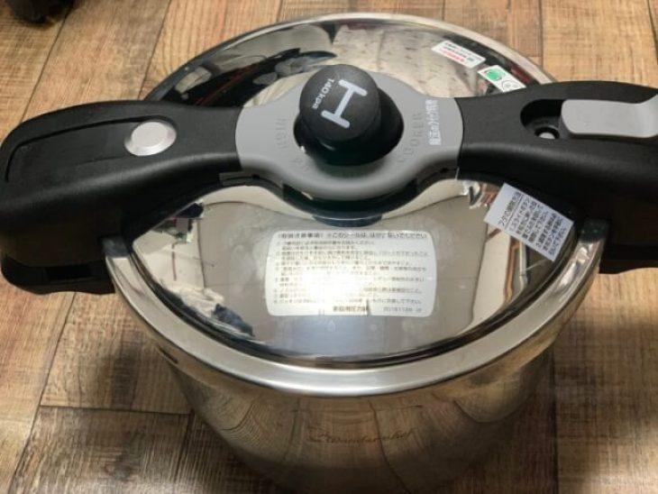 ワンダーシェフの圧力鍋。圧力が強く短時間で調理できる