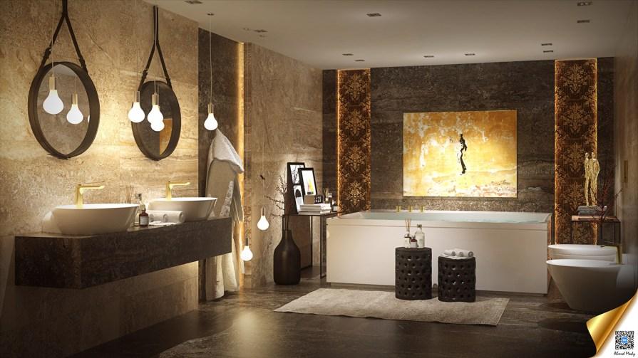 Çarpıcı Tasarım Ayrıntılarına Sahip Lüks Banyolar