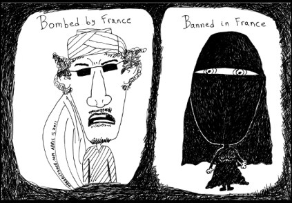 headscarves bombed and banned by france by laughzilla for the daily dose april 11 2011