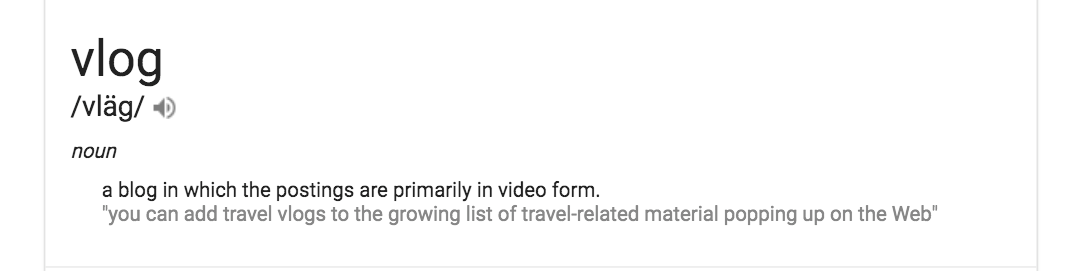 header illustration of google's SERP 0 answer for the definition of the word vlog