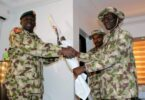 Gen Lucky Irabor handed over to Gen Ibrahim Attahiru as Theatre Commander Operation Lafiya Dole in Maiduguri in 2017