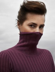 Merino Wool Rib Jumper - Polo Neck