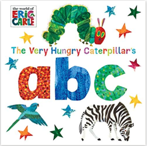Illustrated cover of a classic book for learning the alphabet: The Very Hungry Caterpillar ABC
