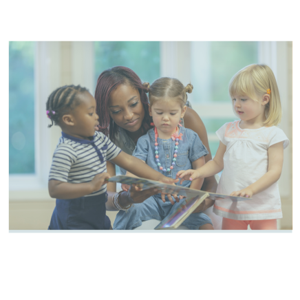 teacher with multi-ethnic young children holding book open as they read and point on things on page