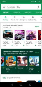 Screenshot of Google Play store showing subsection of Games with Ramadan themes and offers