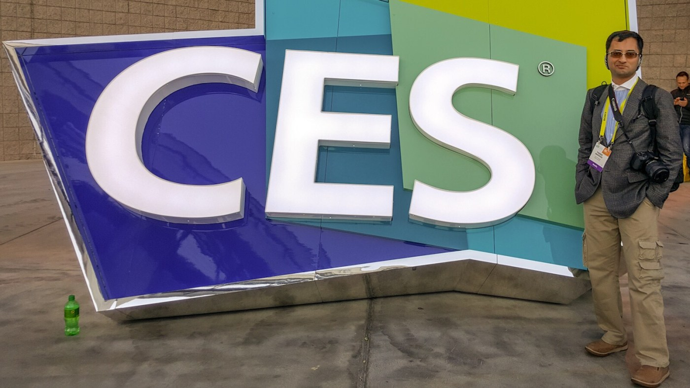 Yasser Masood in front of the CES sign the Las Vegas Convention Centre during CES 2017