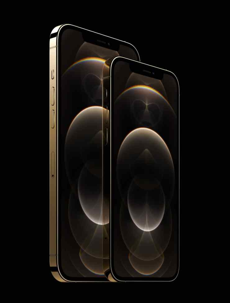 iPhone 12 Pro and iPhone 12 Pro Max in stainless stell gold