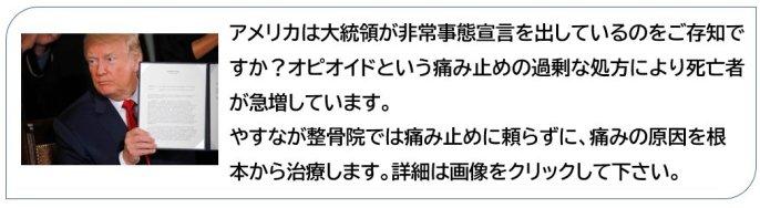 今アメリカではトランプ大統領が痛み止めに対して非常事態宣言を出しています。 これは米国において、オピオイドと呼ばれる痛み止めの過剰な処方、過剰な服用により死亡者が急激に増加している事に対し措置をとったものです。 しかし現実には今も過剰摂取による死者は増加しており、日本にも影響がないとは言えません。 やすなが整骨院では痛み止めに頼らない、痛みの原因を根本から治す治療を行っています。 オピオイド危機についてのやすなが整骨院の考え方をリンク先で説明していますので、興味のある方は画像をクリックして下さい。