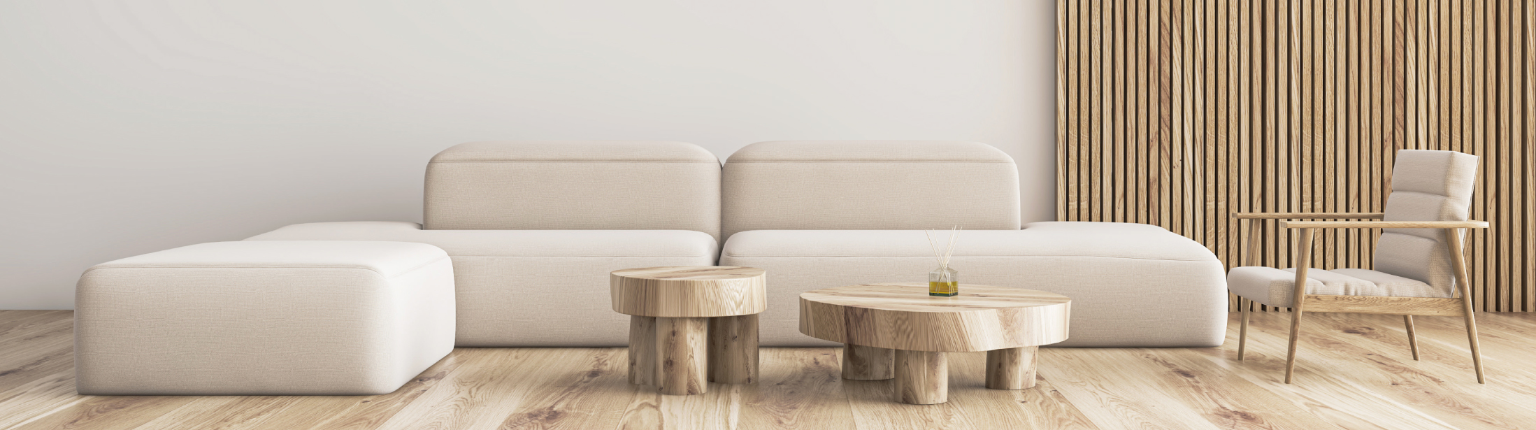 Interior of stylish living room with white and wooden walls, wooden floor, comfortable beige sofa and armchair standing near two crude wooden tables. 3d rendering