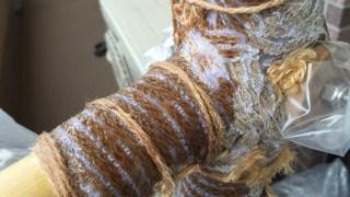 竹フレーム自転車の欠けた部分を穴埋め成形したよ。 Bamboobee 組み立て7回目