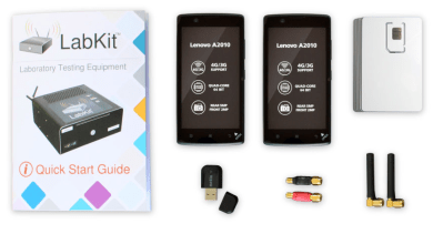 image with LTE/GSM LabKit package: Two smartphones, one WiFi dongle, Filters, Antennas, sim cards and user manual