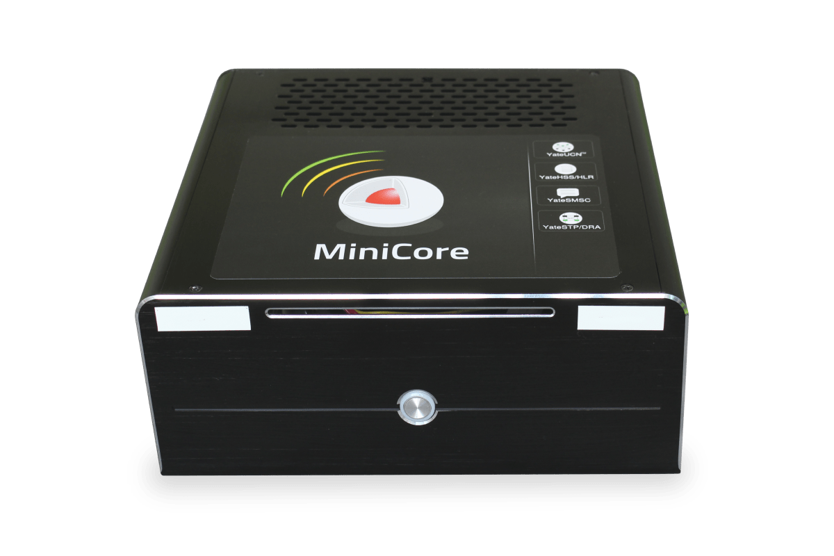 image with MiniCore front side, a small factor PC that can run YateUCN Core network, HSS/HLR, STP, DRA and SMSC