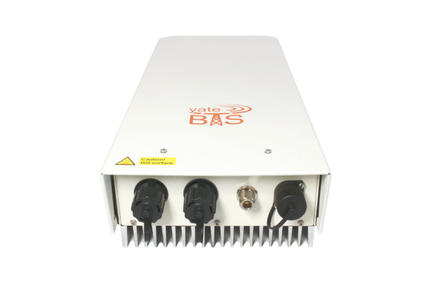 image with SatSite Software Defined Radio LTE and GSM base station unit, with radio antenna, ethernet ports and power connector