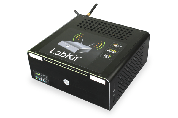 image with GSM LabKit unit, a small factor PC running YateBTS and YateENB