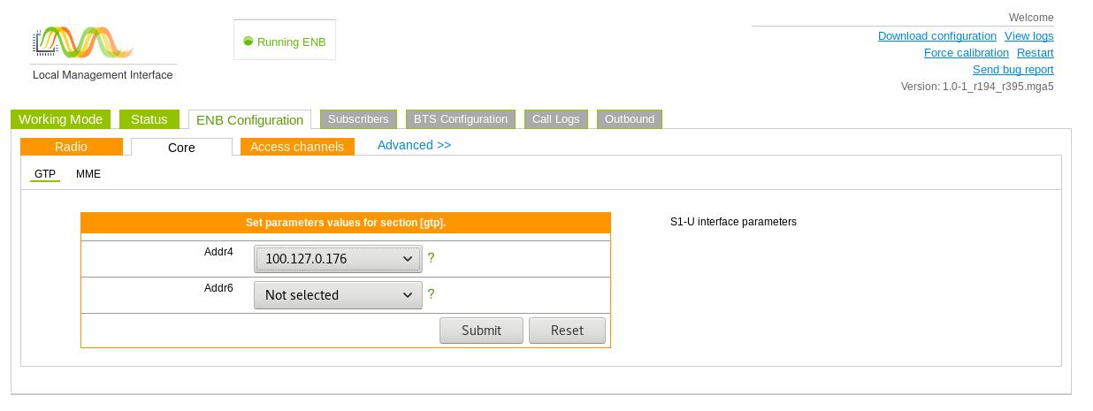 eNodeB configuration GTP