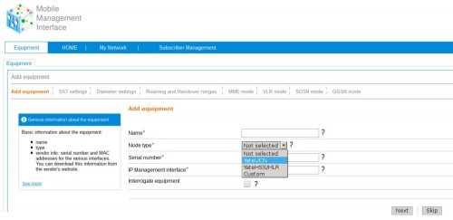 How to add a YateUCN equipment using the YateMMI web-based management interface