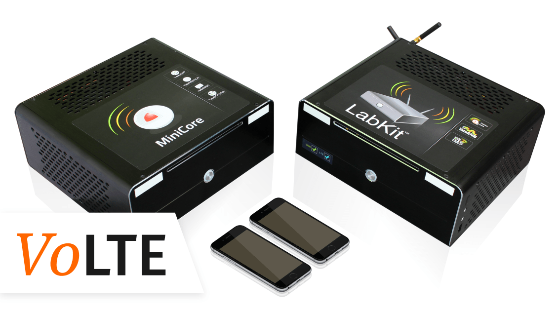 VoLTE Lab is a full VoLTE Lab kit that is ready to use to test VoLTE functionality. It is composed by a LTE LabKit as an eNodeB, and a MiniCore as EPC and IMS Core Network. It comes with 2 iPhones as User Equipments.