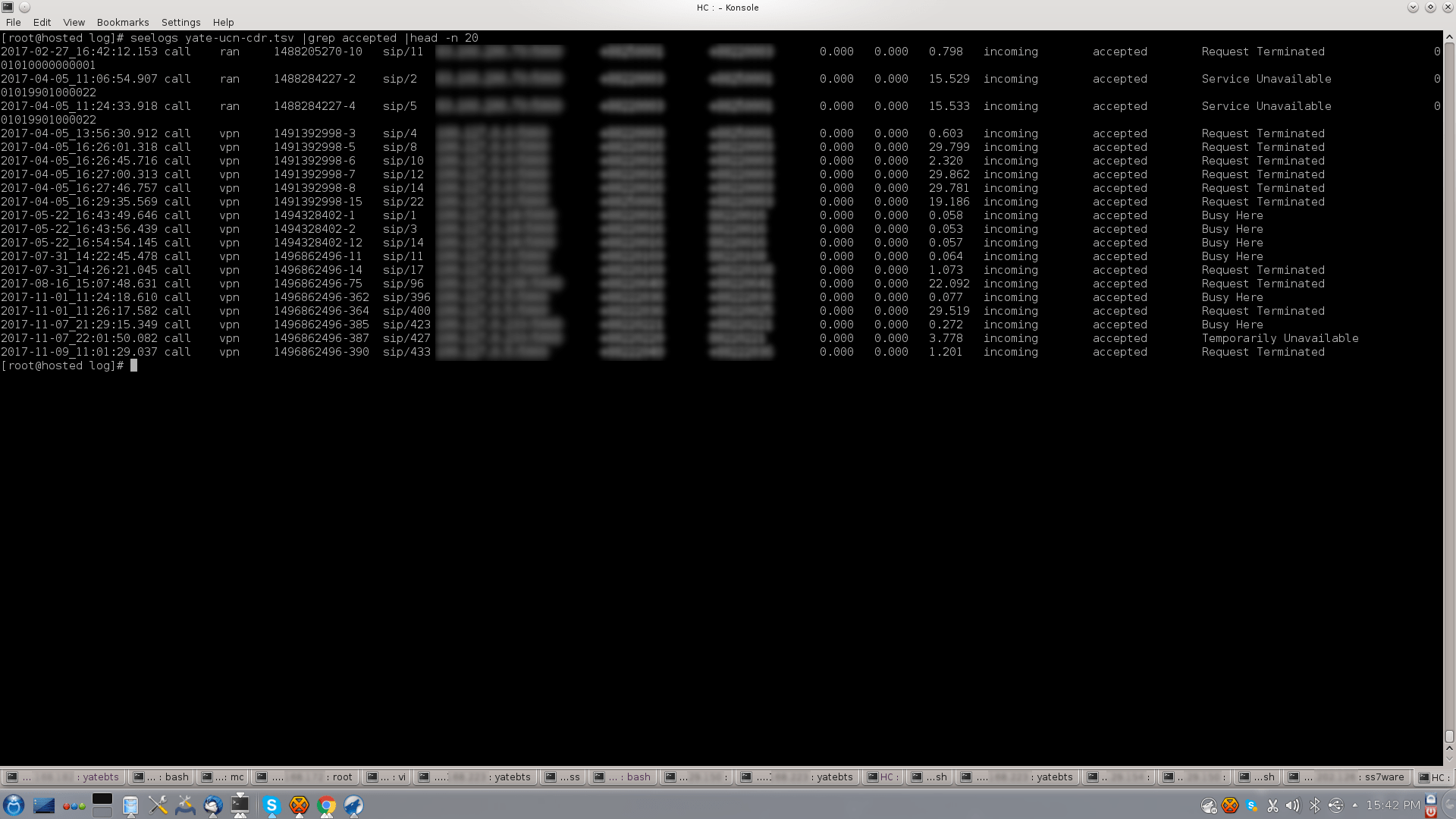 CDR Screenshot from Core Network YateUCN