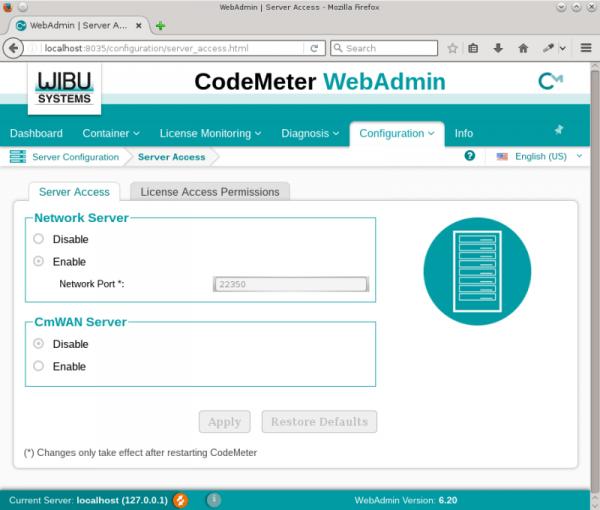 code meter web admin server access