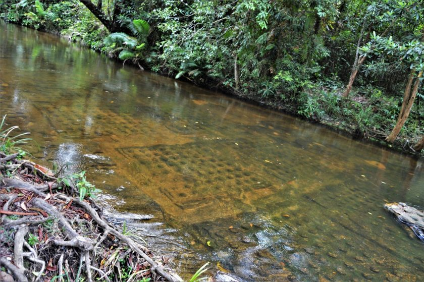 Thousand lingas carved on the river bed of the Kbal Spean River in the Phnom Kulen National Park, Cambodia