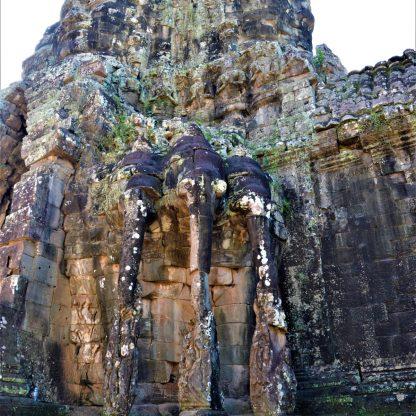 Angkor Thom south gate - Indra seated on a three-headed elephant