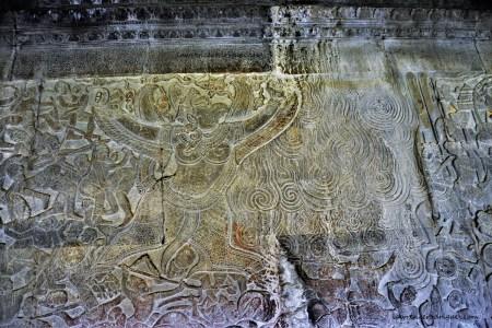 Angkor Wat - Vishnu's vehicle Garuda entering Agnigraha (House of Fire) in the Krishna's Victory over Banasura bas-relief