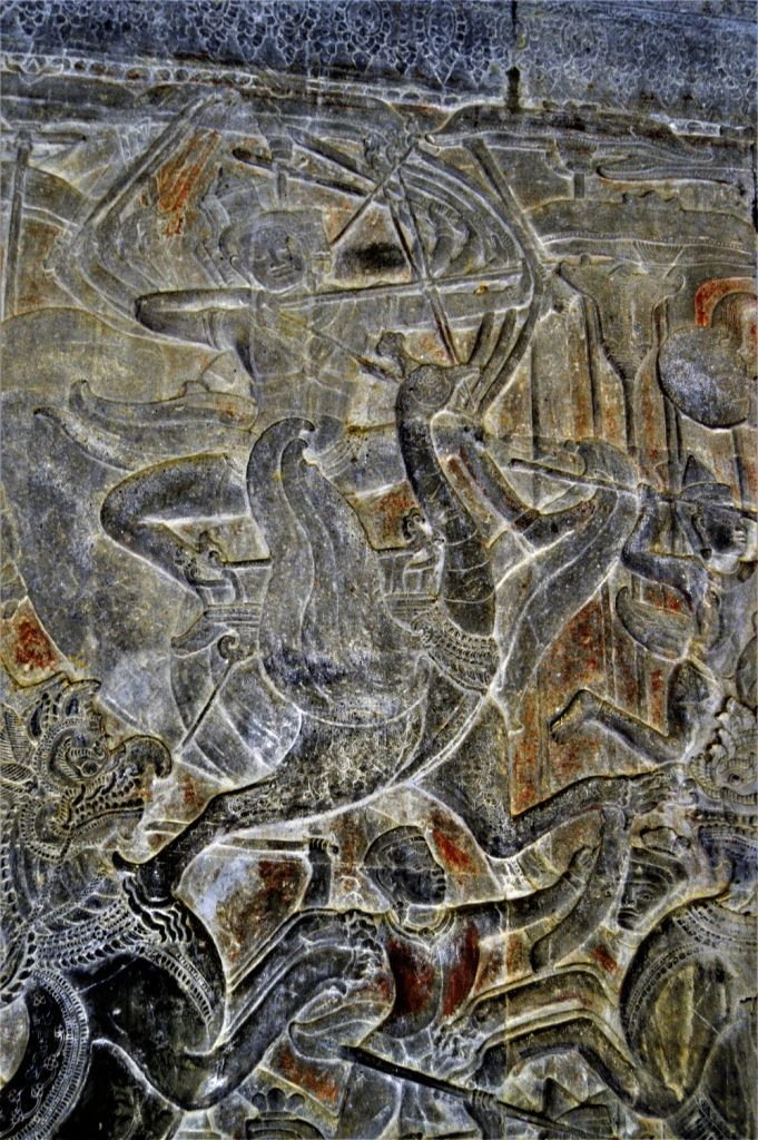 Kartikeya (Skanda) riding a peacock in the Battle between Gods and Asuras bas-relief carved in the lower-level gallery of the Angkor Wat Temple