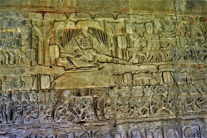 Angkor Wat bas-relief depicting Yama sitting on a buffalo conducting the proceedings in his court