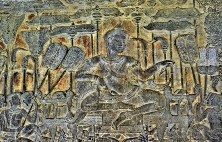 Bas-relief of Khmer King Suryavarman II, the builder of Angkor Wat, in Siem Reap, Cambodia