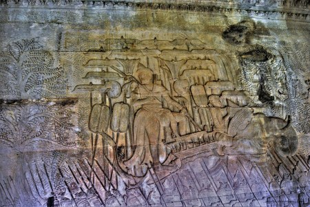 Bas-relief of depicting King Suryavarman II as the commander-in-chief in Angkor Wat, Siem Reap, Cambodia