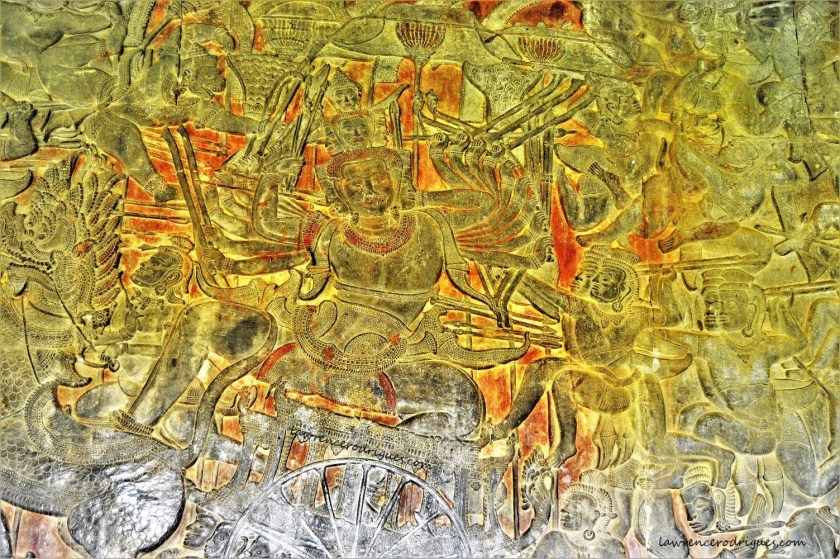 Ravana in the Battle of Lanka bas-relief carved in the lower-level gallery of the Angkor Wat Temple in Siem Reap, Cambodia