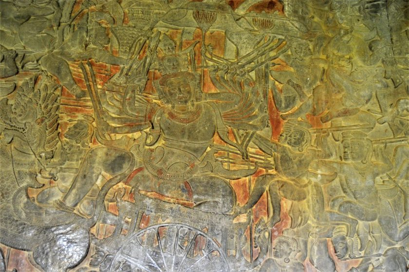 Battle of Lanka bas-relief depicting Ravana fighting Rama's army carved on the lower level gallery of Angkor Wat in Cambodia