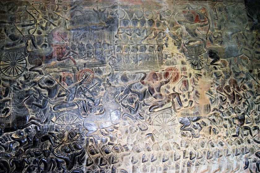 Battle of Kurukshetra bas-relief depicting advancing Kaurava army and the death of Bhishma