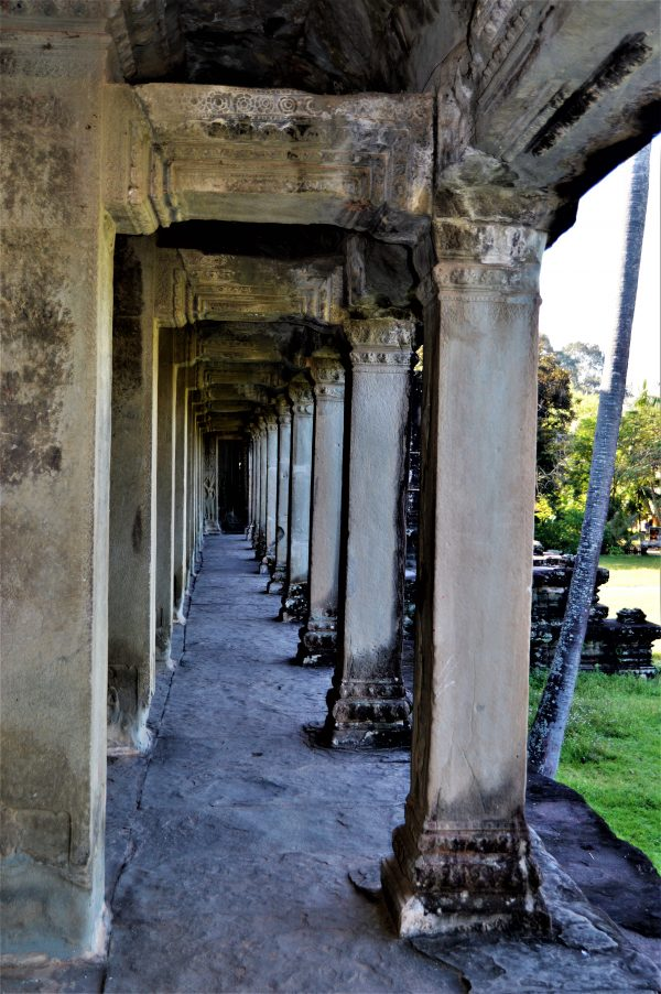 Pillars on a corridor of the gallery structure on the lower level of Angkor Wat in Siem Reap, Cambodia