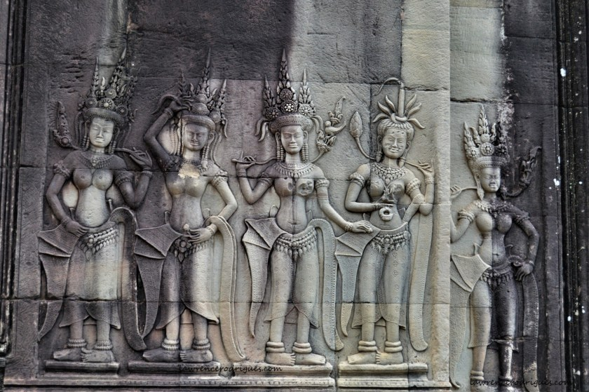 Apsaras carved on the middle level gallery of the Angkor Wat Temple in Siem Reap, Cambodia