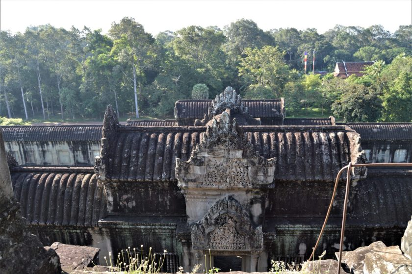 A gopura on the mid-level gallery of the Angkor Wat Temple in Siem Reap , Cambodia