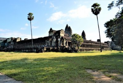 A view of the Angkor Wat temple from southwest corner showing the west and south galleries