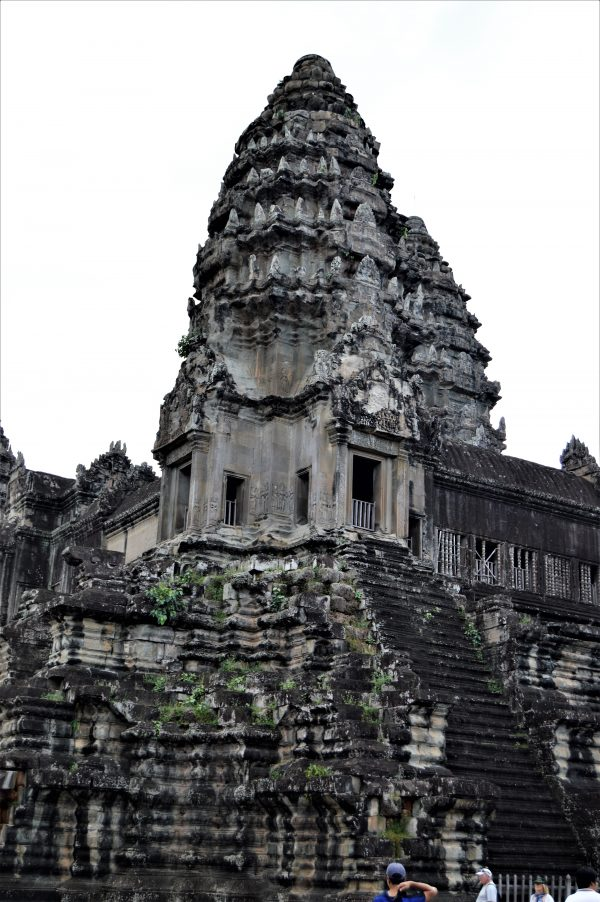Southwest corner tower on the top level of the Angkor Wat Temple in Siem Reap, Cambodia