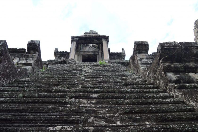 Steps to an entrance to the uppermost terrace (Bakan) of Angkor Wat Temple in Siem Reap, Cambodia